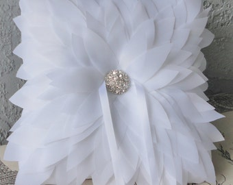 White or Ivory Chrysanthemum And Rhinestone Ring Bearer Pillow