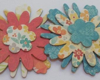 SUNSHINE Flowers Chipboard Die Cuts - Floral Embellishments - 12 Pieces