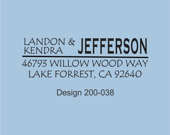 Designer Custom Self Inking Rubber Stamp Landon Jefferson Design 200-038