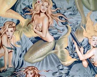 Five (5) Yards -Sea Sirens Mermaid Print on Tea Pin Up Nudes Fabric by Alexander Henry 7825B