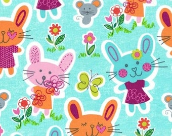 One (1) Yard -Some bunny loves you by Michael Miller Fabrics CX5952-AQUA-D
