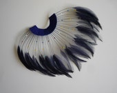 HALF PINWHEEL Beaded Hackle Feathers / Royal Blue, Navy Blue  /  1217