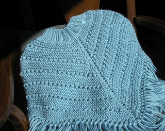 Knitted Poncho, Girls Medium - Lt.Country Blue