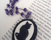 Black Cat Witch Gothic Cameo necklace