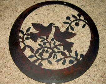 Doves in Olives-Metal Art--Steel Art-Home Decor-Wall Art