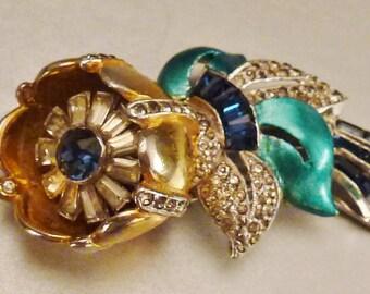 CORO CAMELLIA CLIP- Brooch Trembler Stunning Rhinestones White Blue Green Gold enamel Wedding  app 2 x 1