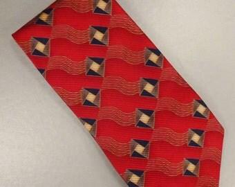 Designer  Neck TIE Silk J Z Richards For Nordstrom Red black diamonds  62 in long 4 in wide