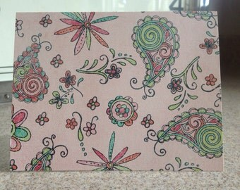 20 crazy paisley note cards stationary