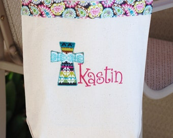 Fun colors personalized church mass tote bag flower girl baptism gift Easter tote