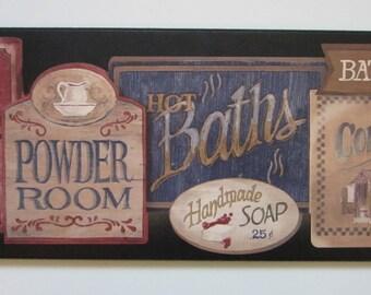 Bathroom Powder Room wall decor plaque Country Bath lodge style rustic sign BIG