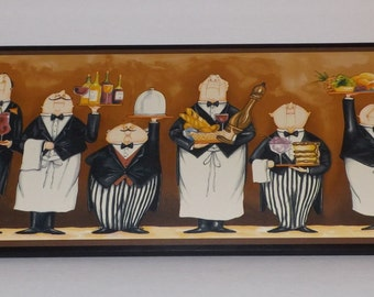 Chefs or Waiters kitchen wall decor chef plaque mustard yellow gold sign