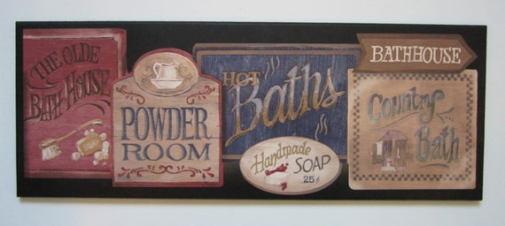 Bathroom Powder Room Wall Decor Plaque Country Bath Lodge