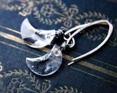 Crescent Moon, Crystal Earrings, Dangle Earrings, Crystal Jewelry, Swarovski Crystal, Swarovski Moon, Sterling Silver, Celestial