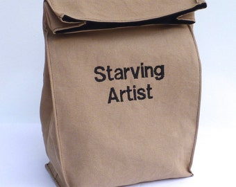 Fabric Paper Bag Reusable Snack Sack Starving Artist Quote Brown Lunch Bag eco friendly by BonTons on Etsy