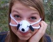 Nose Warmer, Black Eared Puppy, Dog Nose Cozy, Cold Nose Mitten, Man, Woman, Teen, Tween, Gag Gift, Fun Crochet, Winter Actvities,