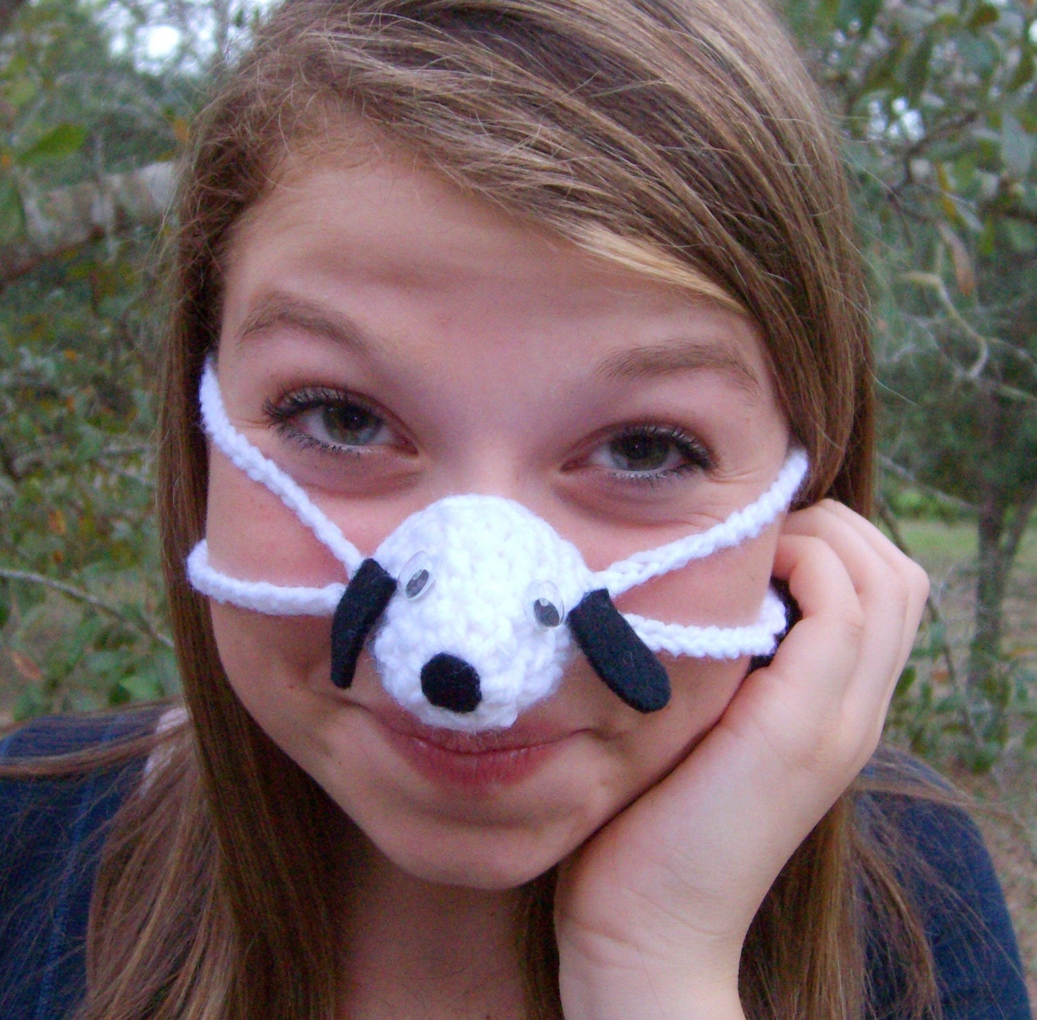 Crochet Nose Warmer : Nose Warmer Black Eared Puppy Dog Nose Cozy by auntmartymadeit
