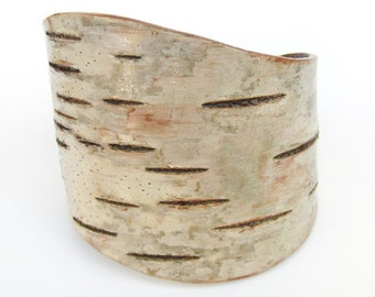 Birch bark wood bracelet, The Large Curve