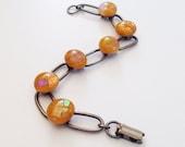 Dichroic Glass Bracelet  - gold link bracelet multicolor Dichro - dichro bracelet - fused glass - antique bronze - butterscotch - caramel