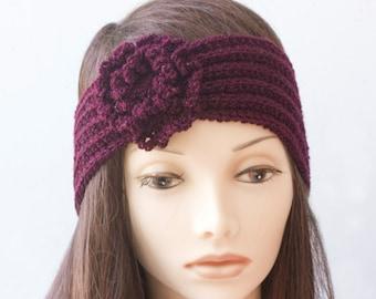 Burgundy Flower Ear Warmer, Flapper Headband,  1920s Style Head Wrap, Hand Knit