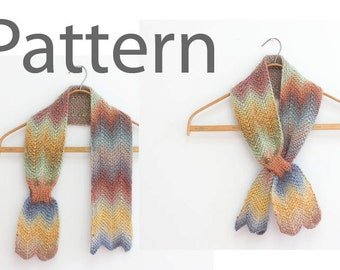Knitting Pattern for Chevron Keyhole Scarf, Instant Download, Stay in Place Scarf PDF Patterm, Self Tying Scarf