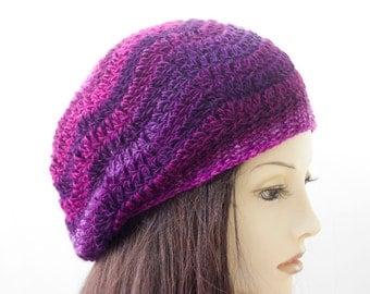 Chevron Hat, Hand Crocheted Beanie , Winter Slouchy Beanie, Raspberry, Purple  Striped Vegan Hat
