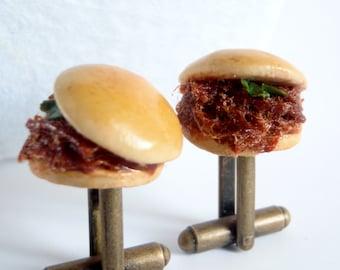 Pulled Pork Slider Sandwich Cufflinks -  Miniature Food Art Jewelry Collectable - Schickie Mickie Original