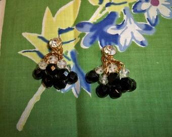 SALE! Vintage 1960s Beaded Chandelier Earrings Swirled White Art Glass Jet Black Beads Rhinestones
