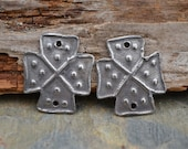 Handmade White Copper Coptic Cross (1 Pair) Metal Clay