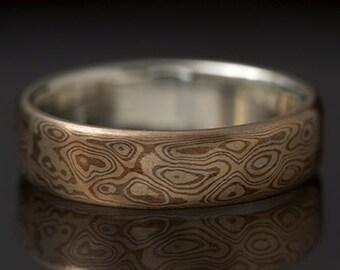 Mokumé Gane  Sterling Silver, Shakudo and Kogane Ring