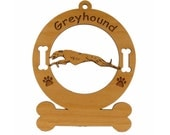 3322 Greyhound Running Personalized Dog Ornament