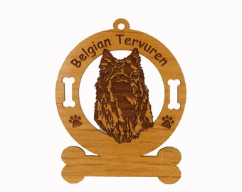 1662 Belgian Tervuren Head Personalized Wood Ornament