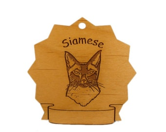 7390 Siamese Cat Personalized Wood Ornament