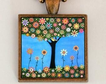 Tree Pendant Necklace Handmade Jewelry by Mixed Media Artist