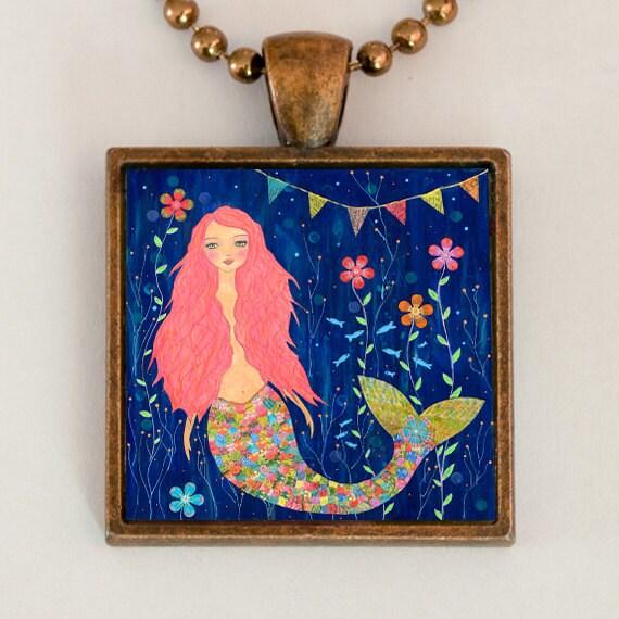 Mermaid Necklace - Mermaid Pendant - Handmade Mermaid Jewelry - Pink Mermaid Necklace