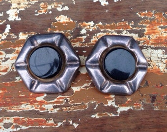 Taxco Sterling and Onyx Clip-On Earrings