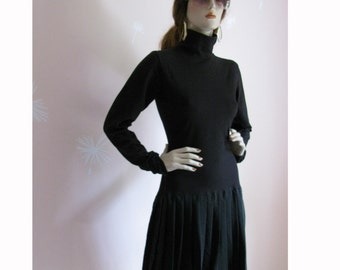 Grunge Goddess Vintage 1990s Black Fitted High Neck Dress With Silk Pleated Mini Skirt