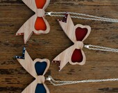 Harajuku Bows Necklace in Teal, Orange, Maroon and Tasmanian Myrtle wood timber acrylic,  Japanese laser cut pendant sterling silver chain