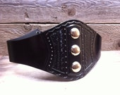 Darling  Large Silver Button Studded Wide Tooled Black Leather Wide Corset Laced Belt