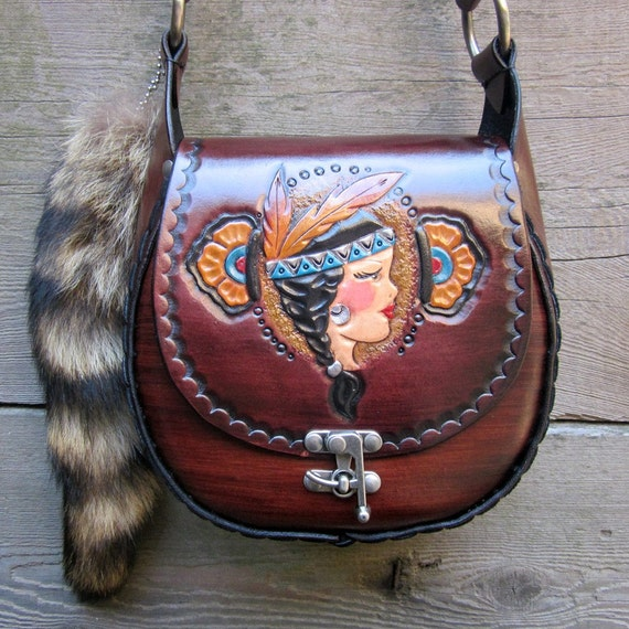 Tiger Lily Hand Tooled Leather Tattoo Flash Pin Up Purse Handbag