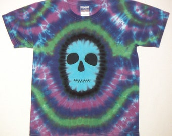 Tie Dye Shirt, Skull Tie Dye, Zombie T Shirt, Youth Medium