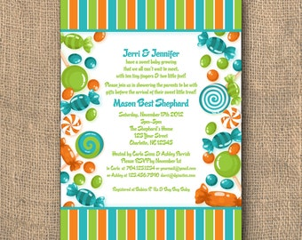 PRINTABLE - 5x7 Candy Themed - Baby Shower Invitation