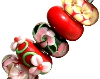 MERZIEs 5 silver Murano glass European Charm chain beads flower floral black pink red white green