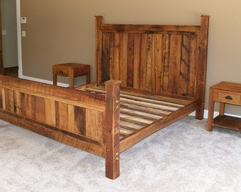 Mission style bed frame made from vintage reclaimed heart pine for Mission style bed frame plans