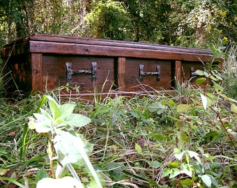 Free Shipping - Reclaimed Wood Custom Casket with Wrought Iron Handles
