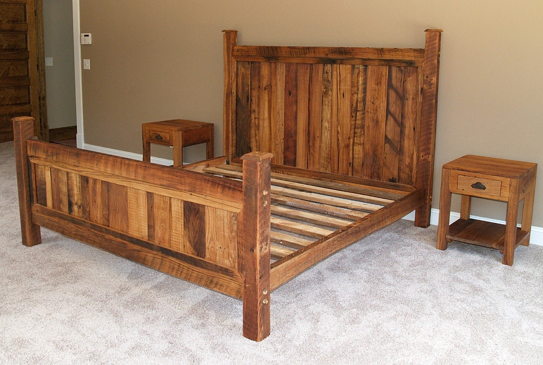 Hand Made Beds ~ Shenandoah sunset bed in rustic wormy chestnut