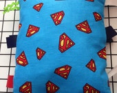 Superman sensory tag along mini  pillow with Minky dot back 7 X 8 inches