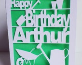Birthday Card, Gardeners, Cut Out Card,  Gardeners Birthday Card, Personalised Birthday Card