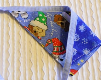 Holiday Dog Bandana with Santa Dogs Sizes S to L in Tie Style Bandanna