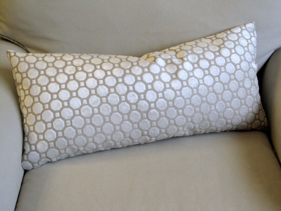 PEARL ivory Raised Velvet geometric decorative designer throw pillow 13x26