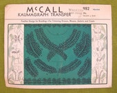 1940s Vintage Sewing Pattern - McCall 982 Braiding Designs for Trimming Kaumagraph Transfer